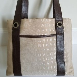 BVLGARI Logo Mania Tan & Brown TOTE BAG